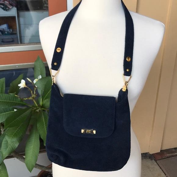 Magda Makkay Handbags - Vintage Magda Makkay Handbag Blue Suede